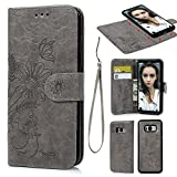 S8 Plus Case, Wallet Case PU Leather Oil Wax Embossed Sunflower Folio Cover Detachable Magnetic Wallet with Card Slots Cash Compartment Case Made for Samsung Galaxy S8 Plus Gray For Sale
