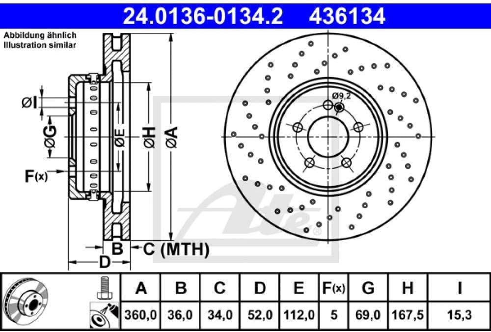 x2 Bremsscheiben ATE 24.0136-0134.2 Bremsscheibe Scheibenbremsen