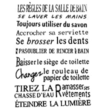 SODIAL(R) Quotes for bathroom of French version waterproof wall stickers home decor, vinyl art decals sticker-Black