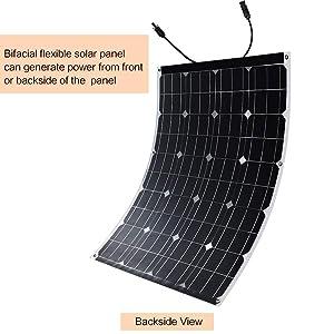 Image of a bifacial flexible 100 Watt Winnewsun solar panel