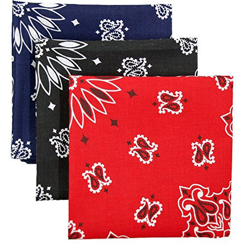 Bandana 3-Pack - Made in USA For 70 Years - Sold by Vets - 100% Cotton -Sewn Edges -
