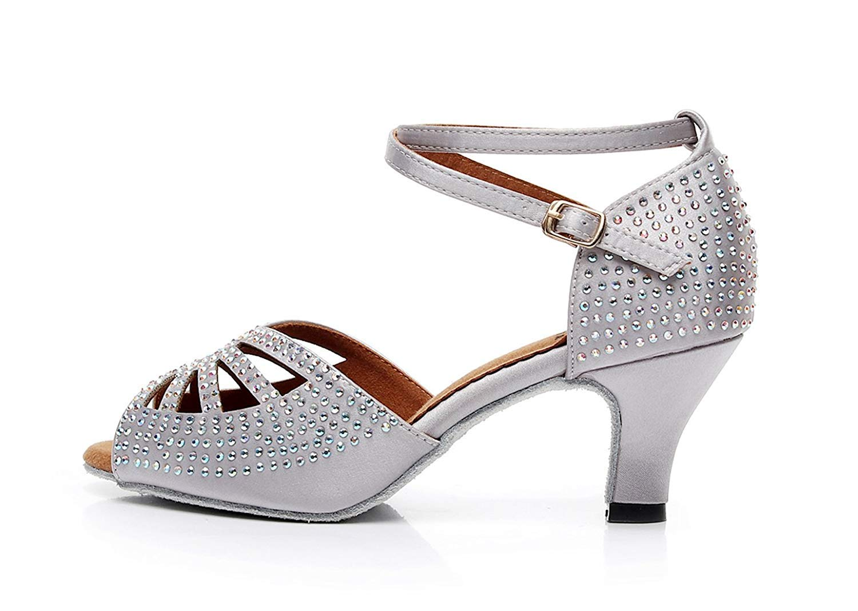 Qiusa Damen Damen Damen Sparkle Crystalds Studded Med Ferse grau Tanzschuhe Hochzeit Sandalen UK 2,5 (Farbe   Silber-3.35  Heel Größe   -) 14c91e