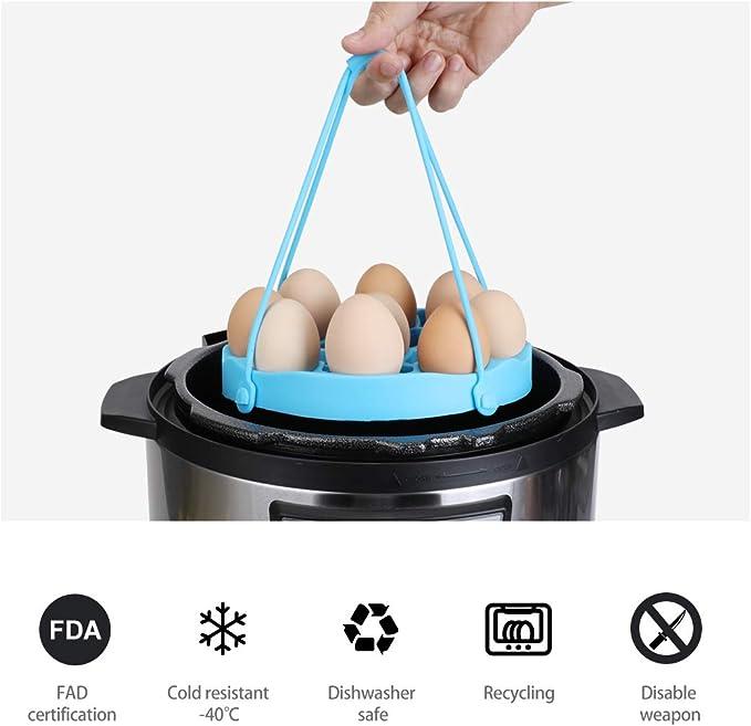 Blue Egg Steamer Rack,Pressure Cooker Sling,Silicone Egg Pressure Cooker Rack Bakeware Lifter Grips Sling for 6 Qt /& 8Qt Instant Pot Accessories and Multi-Cookers Pots,Cook Hard//Soft Boiled Eggs