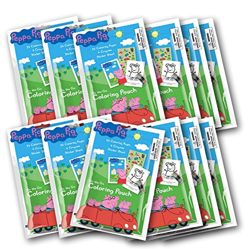 12 Set Peppa Pig Coloring Pouch with Crayons ( Set of 12 Party Favors) -