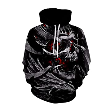 Sudaderas con capucha para hombre, sudadera unisex informal con estampado de calaveras en 3D,