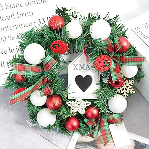 Wreaths Garlands - Christmas Wreath Year Hanging Plastic Artificial Garland Bar Tree Wall Door Ornaments Props - Decorations House White Coral Foliage Advent Noel Orchid For Holly
