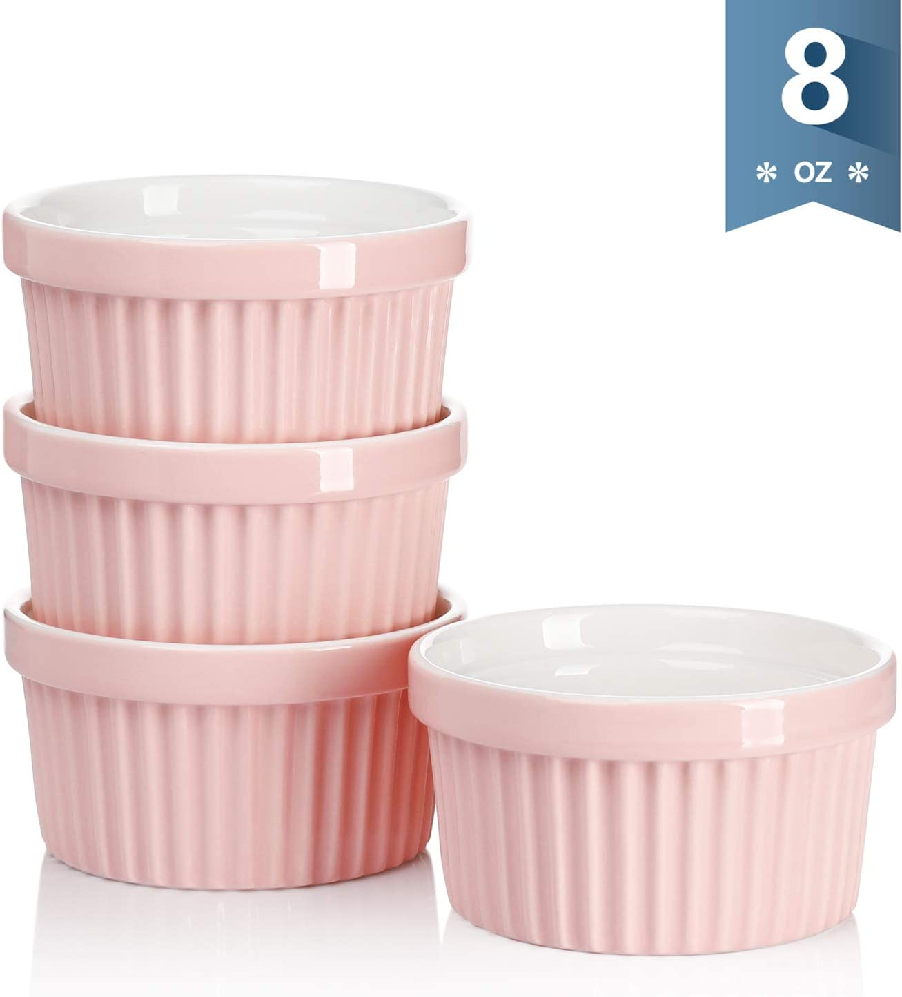 Set of 4 Creme Brulee 8 Ounce for Souffle Sweese 501.108 Porcelain Souffle Dishes Ramekins for Baking Pink