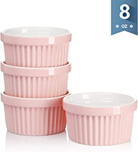 Sweese 501.108 Porcelain Souffle Dishes, Ramekins for Baking - 8 Ounce for Souffle, Creme Brulee - Set of 4, Pink