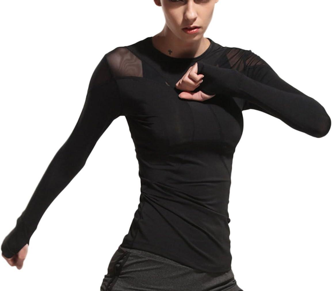 4URNEED Sport Top Damen Langarm Fitness Running Shirt Yoga Oberteile T-Shirts Laufshirt