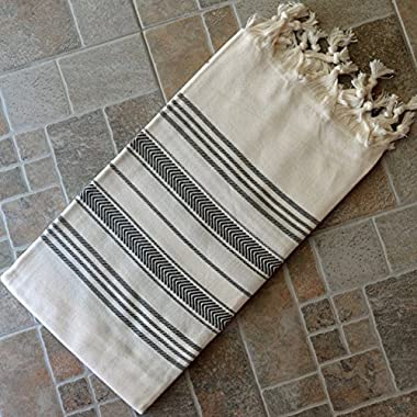 Natural & Black Turkish Towel Peshtemal - 100% Natural Dyed Cotton - for Beach Spa Bath Swimming Pool Hammam Sauna Yoga Pilates Fitness Gym Picnic Blanket (Dandelion Textile)