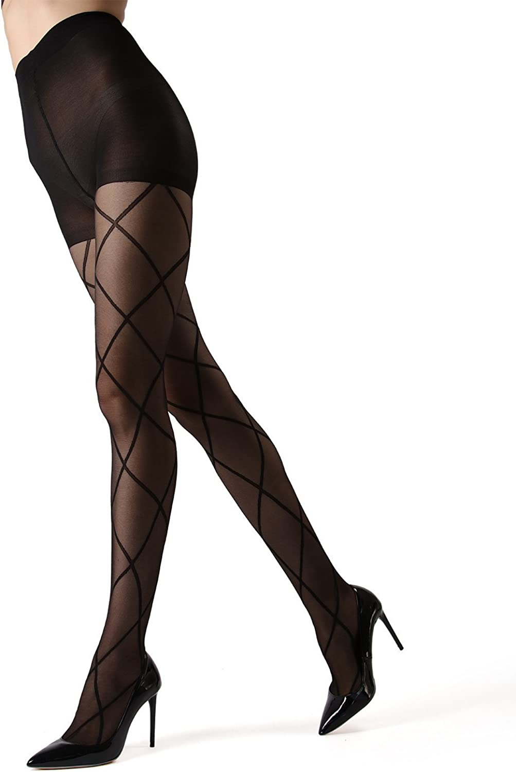 Womens Luxury Fashion Floral Print Sheer Tights for Girls 20 Denier Size S M L