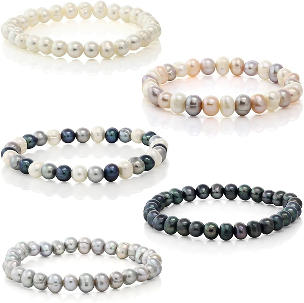 Kyanite and freshwater cultured pearl gemstone stretch bracelet.