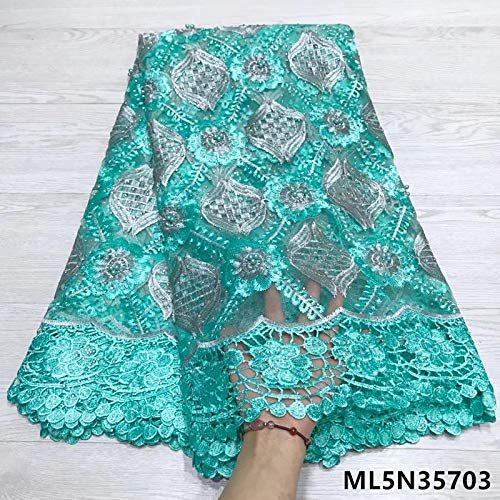 Lace - French lace with Beads and Stones Women Laces Fabrics African Tulle Laces Dress 5yards/lot ML5N357 - (Color: ML5N35702)