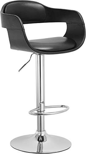 Christies Home Living Contemporary Swivel Adjustable Barstool with Padded Seat