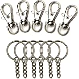 RenBa100 Pcs Metal Swivel Clasps Metal Lobster Claw Clasp Hook Key Rings and 1 inch Keychain Make Your Own Key Ring