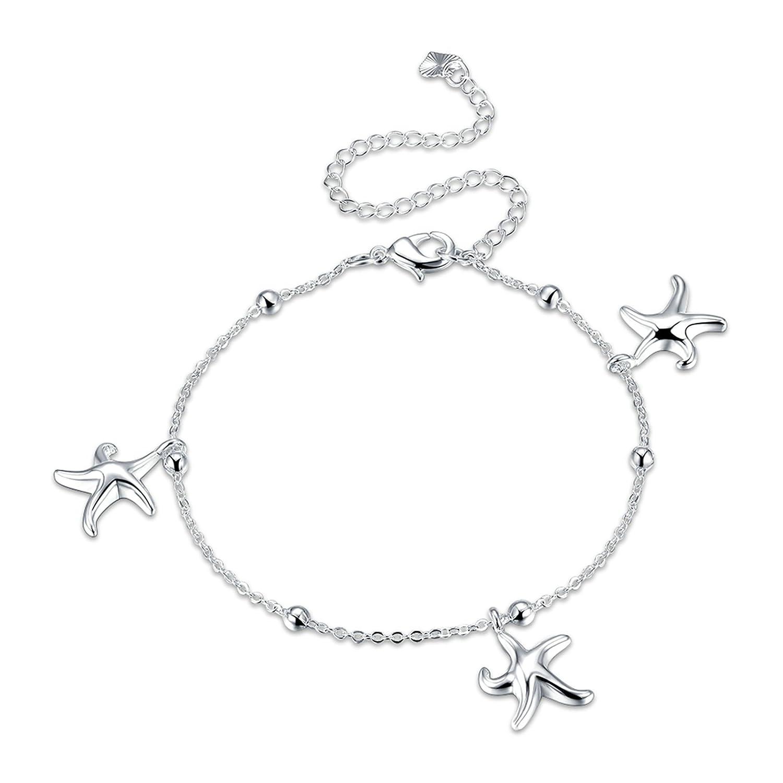 Beydodo Bracelet de cheville avec étoile de mer Plage Pied Bijoux Mariage Rolo Starfishs Perles Cheville