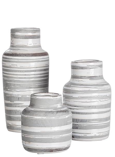 Amazon Sullivans Set Of 3 Ceramic White And Gray Bottles Or