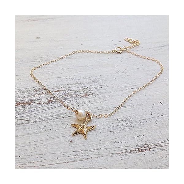 WeiMay 1 x Lovely Starfish Shape cavigliera perla sandalo a piedi nudi accessori da spiaggia piede gioielli 6 spesavip