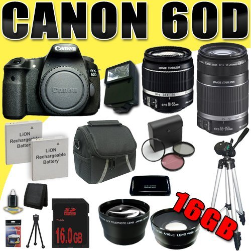 Canon EOS 60D Digital SLR Camera and Canon 55-250mm Lens and Canon 18-55mm Lens 16GB Green's Camera Package