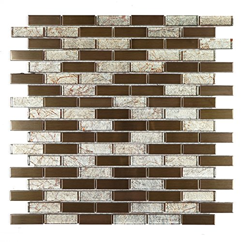 (TDSG-08 Copper Galaxy Glass and Stainless Steel Mosaic Tile-Kitchen and Bath backsplash Wall Tile)