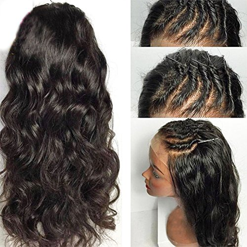 Eversilky Hair Glueless Full Lace Wig Pre Plucked Natural Hairline 150% Density Virgin Peruvian Full Lace Human Hair Wigs For Black Women Wavy Wig 16 Inches