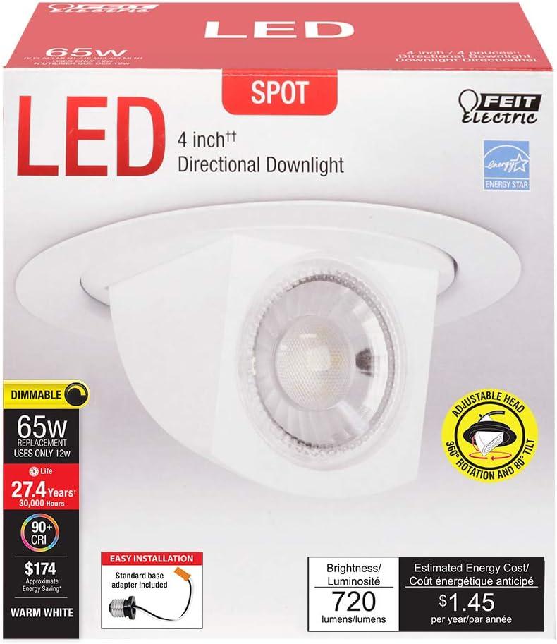 Energy Star Pack of 12 720 Lumens Scoop Down Light Retrofit Kit Spot 3000K Feit Electric LED 4 Adjustable Head 40o Beam Angle