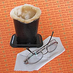 Black Crocodile Plush Eyeglass Stand Holder with Cleaning Cloth, Protect & Store