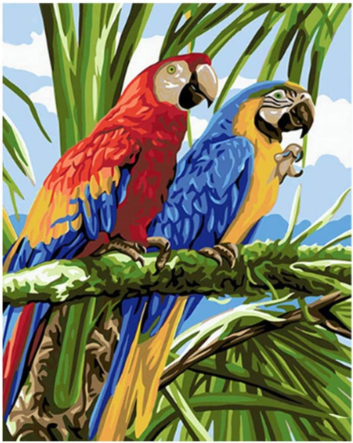 Obctk Red-blue parrot Oil Paint by Numbers Kits for Adults Children Linen Canvas Painting#264