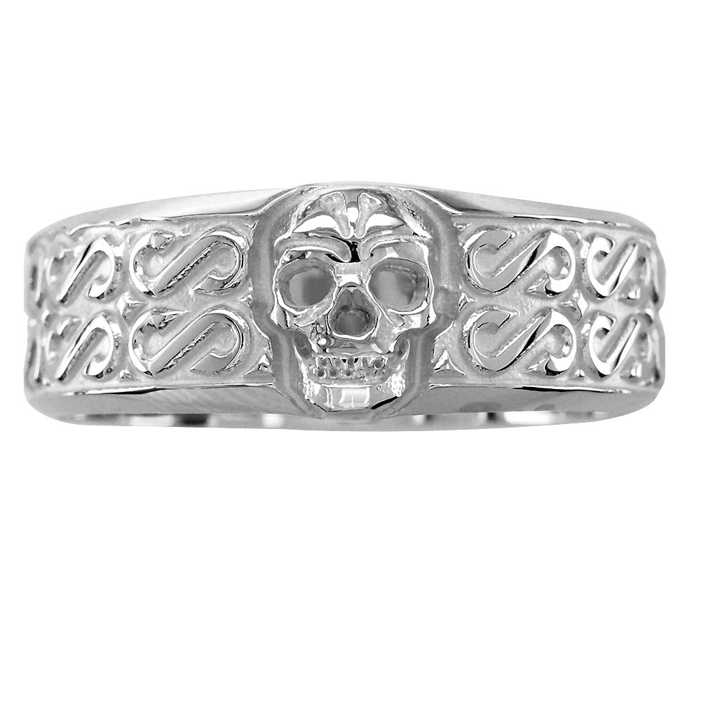 Amazon Mens Wide Skull Wedding Ring With S Pattern In Sterling Silver Jewelry: Wide Wedding Bands Skull At Websimilar.org