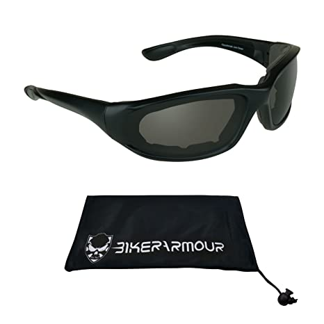 7f36c9848a4 Amazon.com  Polarized Motorcycle Sunglasses Foam Cushion for Men. Free  Microfiber Cleaning Case  Automotive