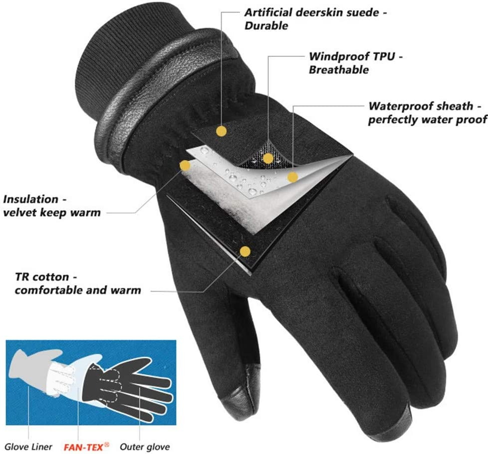 lem Gants Anti-coupures Gants en Peau de Daim imperm/éables et froids Gants dhiver /à /écran Tactile pour Ski