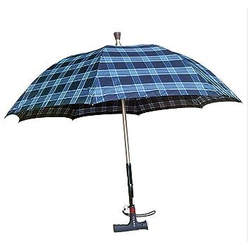 QIAN Aluminio hombre inteligente paraguas deslizamiento iluminado Radio reloj MP3 multifuncional caminar paraguas bastón