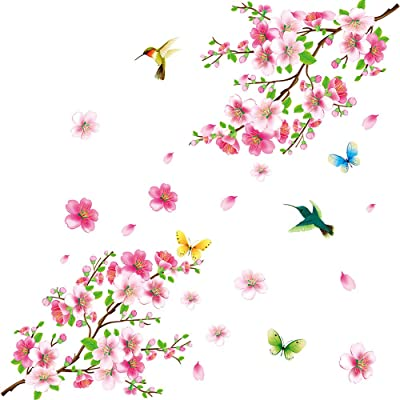 Amaonm Creative Removable DIY Pink Peach blossom Wall Stickers Flowers and Tree Branch Wall Decals Birds Wall art Decor for Kids Rooms Bedroom Girls Nursery Living Room Playroom Office Wall Decoration: Kitchen & Dining