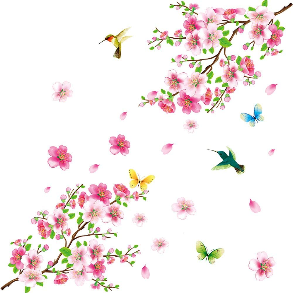 Amazon Com Amaonm Creative Removable Diy Pink Peach Blossom Wall Stickers Flowers And Tree Branch Wall Decals Birds Wall Art Decor For Kids Rooms Bedroom Girls Nursery Living Room Playroom Office Wall Decoration