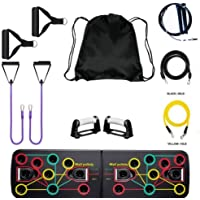 Home Workout Resistance Exercise Bands [5 (Y),10 (P) & 15 (B) Kilos] with Foldable Push Up Board, Jump Rope & Backpack…