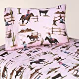 3pc Twin Sheet Set for Western Cowgirl Bedding Collection by Sweet Jojo Designs - Cowgirl Horse Print