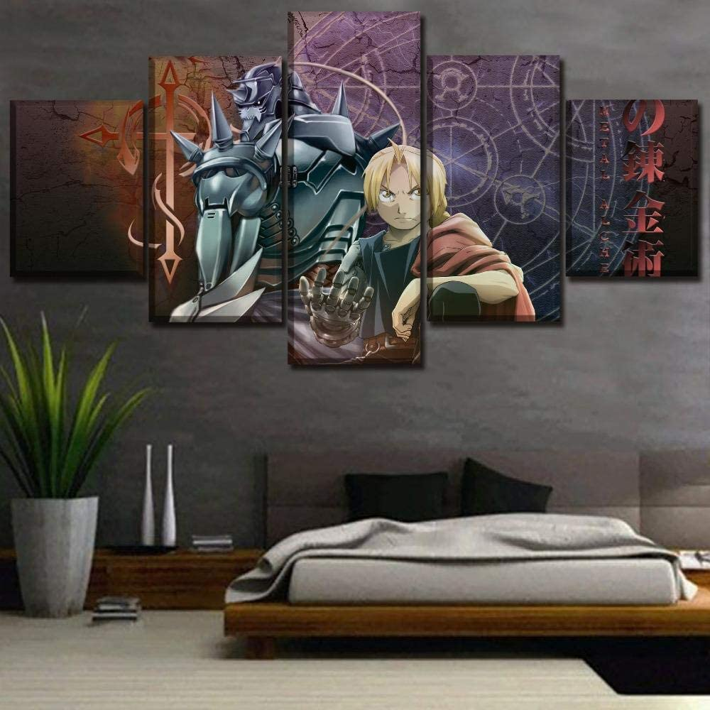 Size 1 No Frame GAMESBD Prints on Canvas,Modular Canvas Hd Prints Posters Home Decor Wall Art Pictures 5 Pieces Anime Fullmetal Alchemist Art Painting