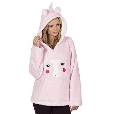 326fc12955 Forever Dreaming Womens Novelty Animal Bed Jacked - Snuggle Fleece Hooded  Pyjama Top Pink S