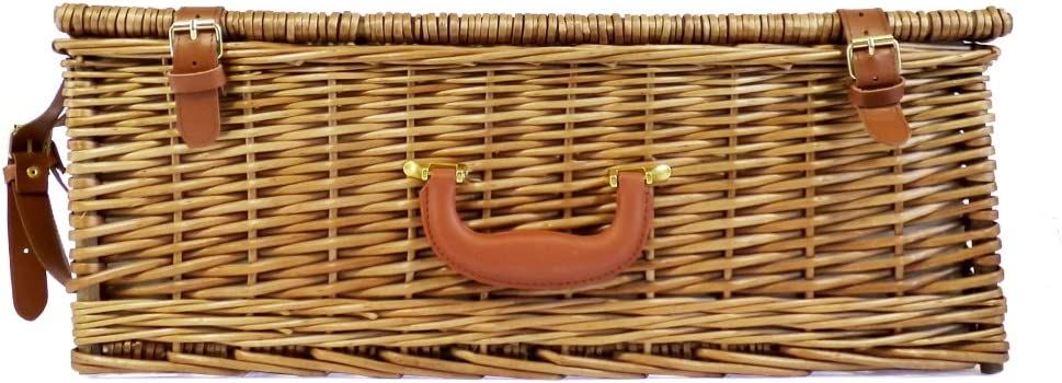 4 Person Picnic Basket Wicker fully fitted with many accessories Gift ideas for Birthday Deluxe Range Ascot Anniversary /& Congratulations presents