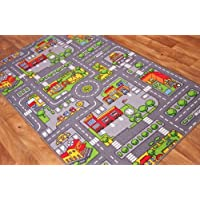 The Rug House Childrens Play Village Mat Town City Roads Rug, 80cm x 120cm (2 6 x 3 9)