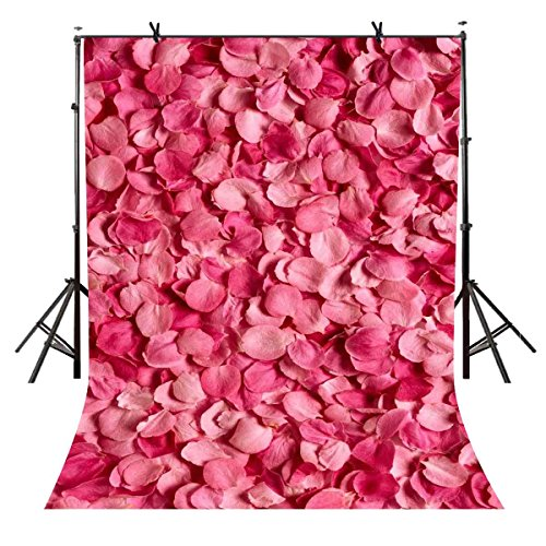 5x7ft Rose Floral Wall Backdrop Pink Flower Petals Photo Backdrop Wedding Photography Background Baby Shower Photo Shoot Props VV1633