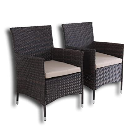 Outdoor Indoor Dining Chairs Match Dining Tables Patio Rattan Chair Wicker  Garden Chairs Set Of 2