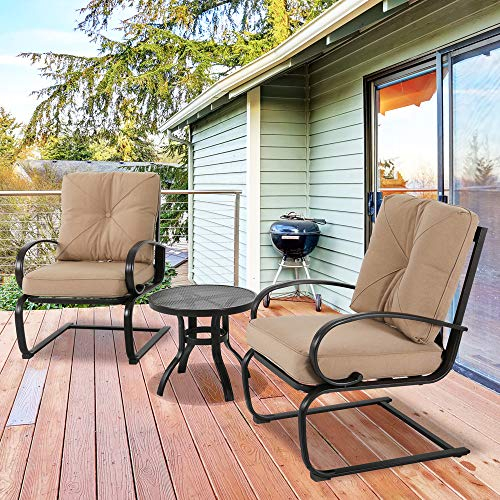 (3 Piece Outdoor Bistro Set Patio Springs Action Chairs Lounge Seat Conversation Set with Round Table and Cushions)