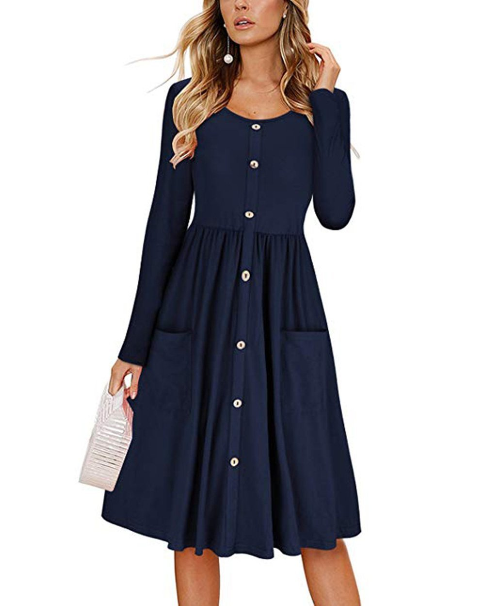 Barlver Women Casual Basic Long Sleeve T-Shirts Dress Crew Neck Button Down Swing Midi Dress with Pockets Crew Neck-Navy 10-12