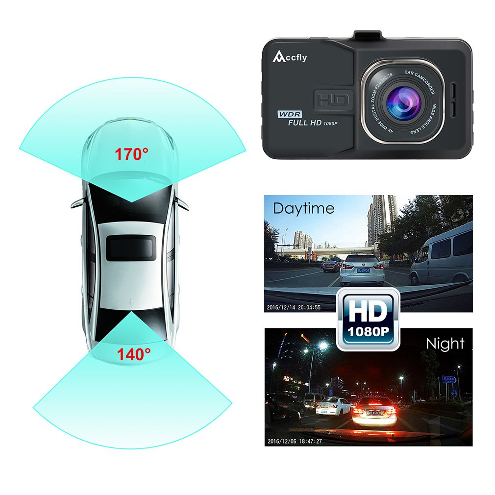 Accfly Dash Cam 1080P 170/° Wide Angle Lens 3.0 LCD Screen Car Dash Camera DVR Recorder with G-Sensor Loop Recording Motion Detection,Vehicle Rear Camera,16GB Card C080CZ+16G TF