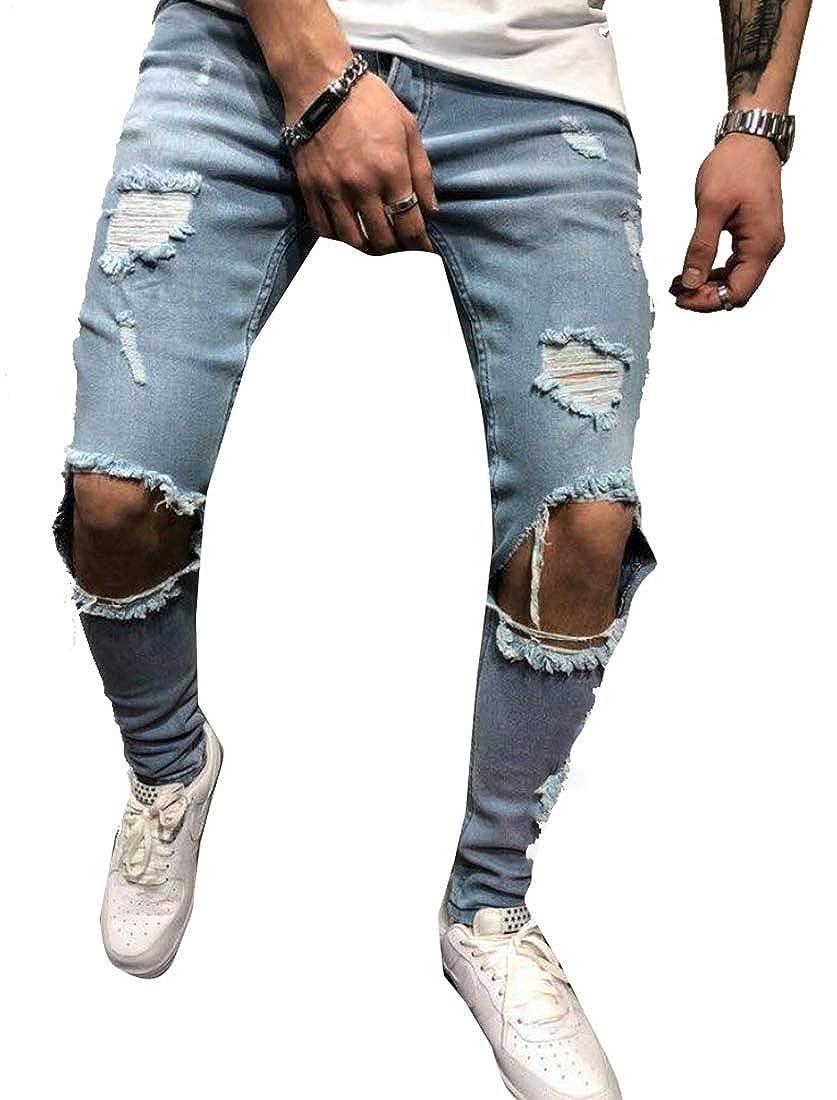 Hokny TD Mens Hip-Hop Punk Casual Rock Broken Holes Slim Fit Jeans Denim Pants