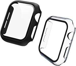 Hotriple - 2 Pack (38/40/42/44mm) Tempered Glass Screen Protector Compatible for Series 1/2/3/4/5/6 iWatch Screen Protector,Apple Watch Cover Full Coverage Protective Foil 9H 2.5D(black+clear) (44mm) (44mm)