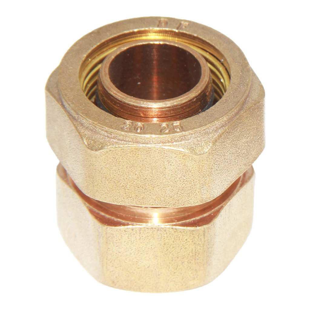 Dovewill Solid Brass Coupling Compression Coupler Female Aluminum Pipe Threaded Fitting Connector Adapter Home Hardware - Yellow, S32 1''