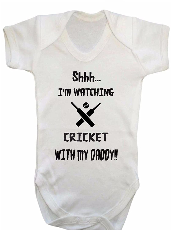 3-6 Months Danni Rose Shhh.Im Watching Cricket with My Daddy Baby Vest Bodysuit boy Girl