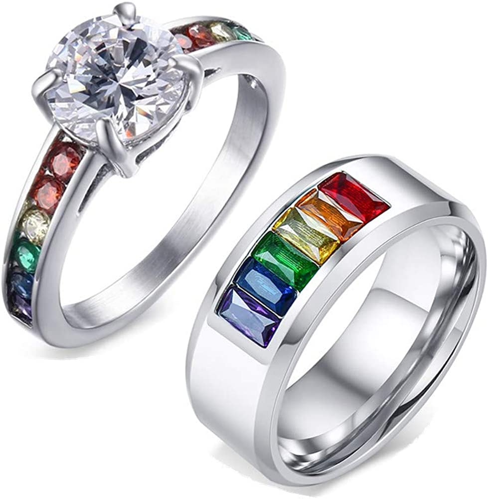 It is just an image of Amazon.com: NJ Gay Couple Wedding Ring - Stainless Steel CZ